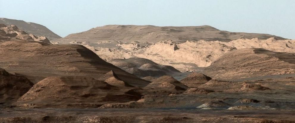PHOTO: This composite image looking toward the higher regions of Mount Sharp on Mars, was taken on Sept. 9, 2015, by NASAs Curiosity rover.