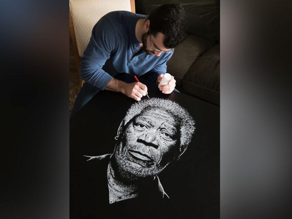 PHOTO: Brian Owens, of West Hartford, Conn., created a portrait of actor Morgan Freeman using salt.