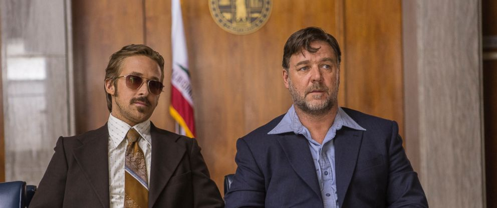 "PHOTO: Ryan Gosling as Holland March and Russell Crowe as Jackson Healy in Warner Bros. Pictures action comedy ""The Nice Guys,"" a Silver Pictures production, a Warner Bros. Pictures release."