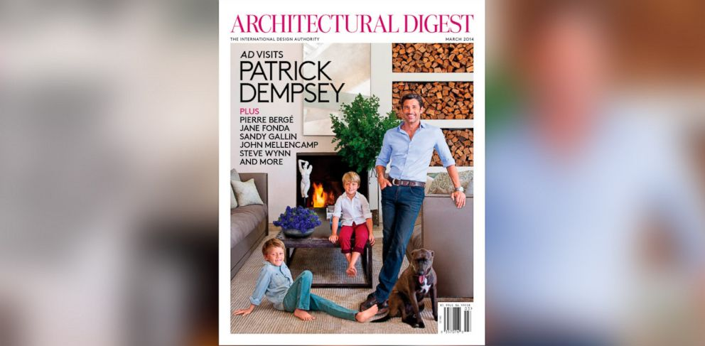 PHOTO: Patrick Dempsey and his family pose in their living room on the cover of Architectural Digest