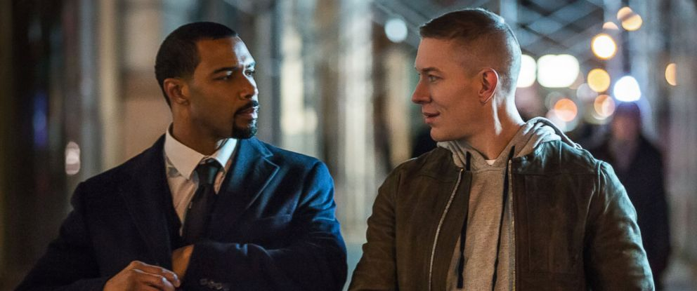 "PHOTO: A still image from the Starz series ""Power"", pictured; Jamie Ghost St. Patrick (Omari Hardwick) and Tommy Egan (Joseph Sikora)."