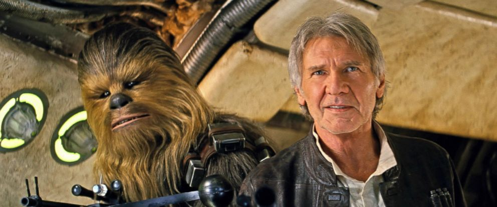 "PHOTO: Joonas Suotamo as Chewbacca and Harrison Ford as Han Solo in a scene from ""Star Wars: The Force Awakens."""