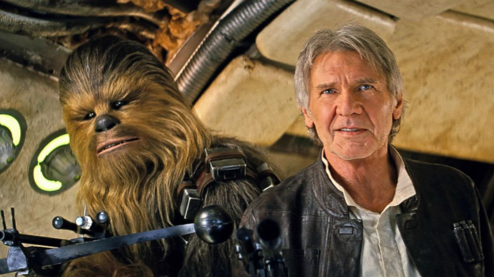 """Joonas Suotamo as Chewbacca and Harrison Ford as Han Solo in a scene from """"Star Wars: The Force Awakens."""""""