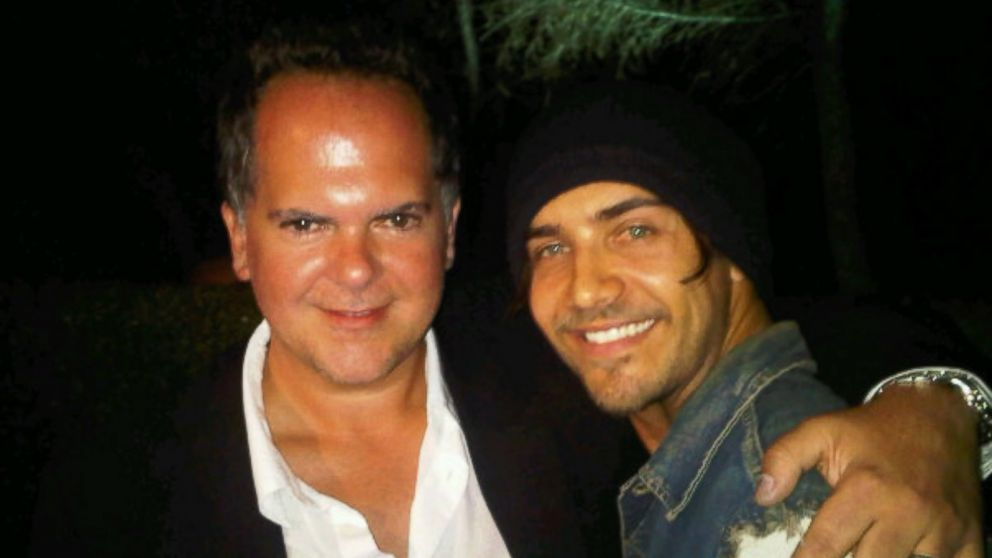 """""""The Hills"""" Executive Producer Tony DiSanto hugs Justin """"Bobby"""" Brescia, who starred on the series in 2007-2010."""