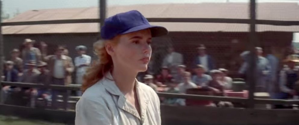 """PHOTO: Geena Davs in a scene from """"A League of Their Own."""""""