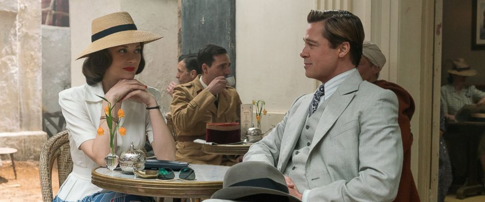 """PHOTO: Brad Pitt plays Max Vatan and Marion Cotillard plays Marianne Beausejour in """"Allied"""" from Paramount Pictures."""