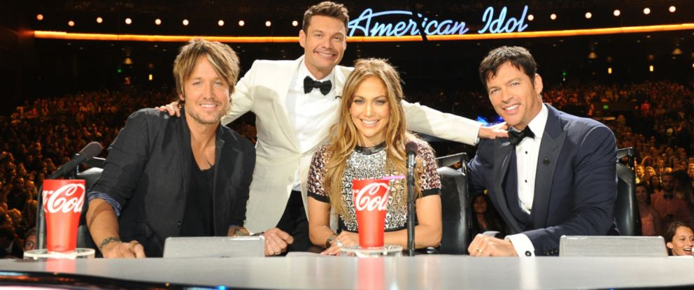 "PHOTO: Keith Urban, Ryan Seacrest, Jennifer Lopez, and Harry Conicck, Jr, on ""American Idol"" season 13 at the Nokia Theater L.A. Live."