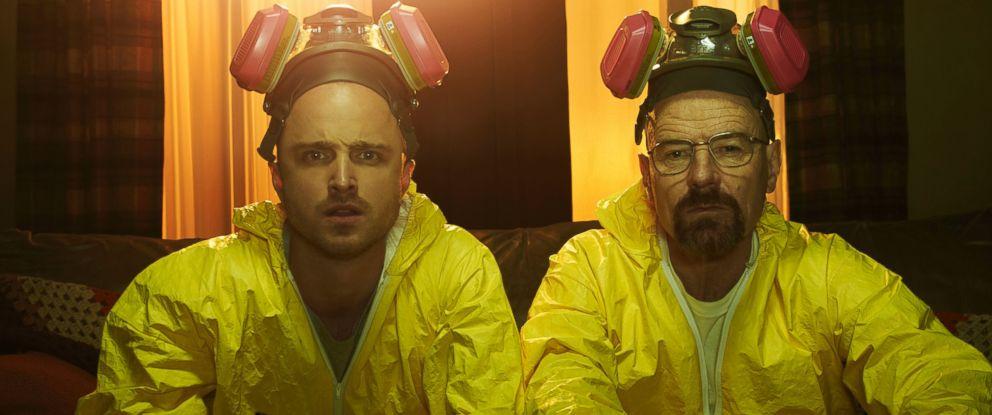 "PHOTO: Aaron Paul as Jesse Pinkman and Bryan Cranston as Walter White in season 5 of ""Breaking Bad."""