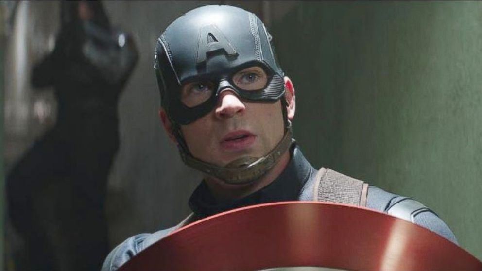 "Chris Evans, as Captain America, in a scene from ""Captain America: Civil War."""