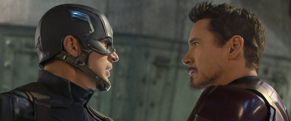 """PHOTO: Captain America/Steve Rogers, played by Chris Evans, and Iron Man/Tony Stark, played by Robert Downey Jr., in """"Captain America: Civil War."""""""