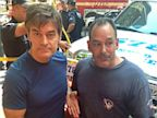 PHOTO: Dr. Mehmet Oz posted this image on Facebook with New York plumber David Justino who took action, removing his belt and using it as a tourniquet for a tourist who was struck by a taxi, Aug. 20, 2013 in New York.