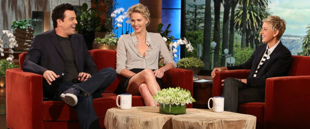 """PHOTO: Charlize Theron and Seth McFarlane make an appearance on """"The Ellen DeGeneres Show,"""" May 21, 2014."""