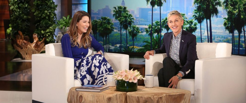 "PHOTO:Jessica Biel joins ""The Ellen DeGeneres Show"" and talks to Ellen about her family and her new kid friendly restaurant, March 24, 2016."