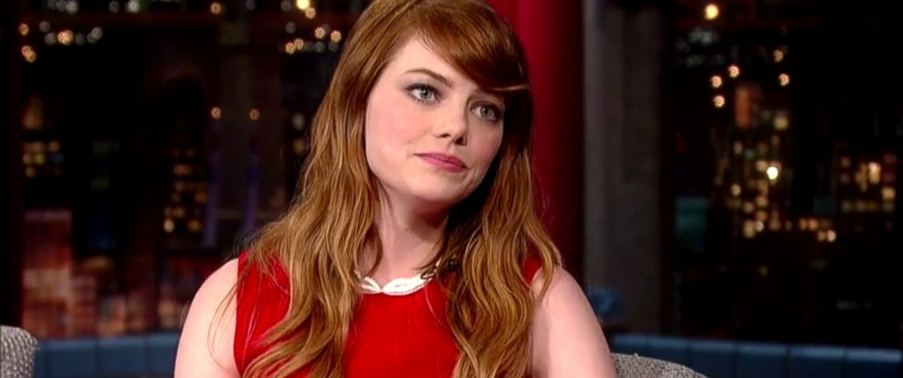 "PHOTO: Emma Stone on ""Late Show with David Letterman,"" July 16, 2014."