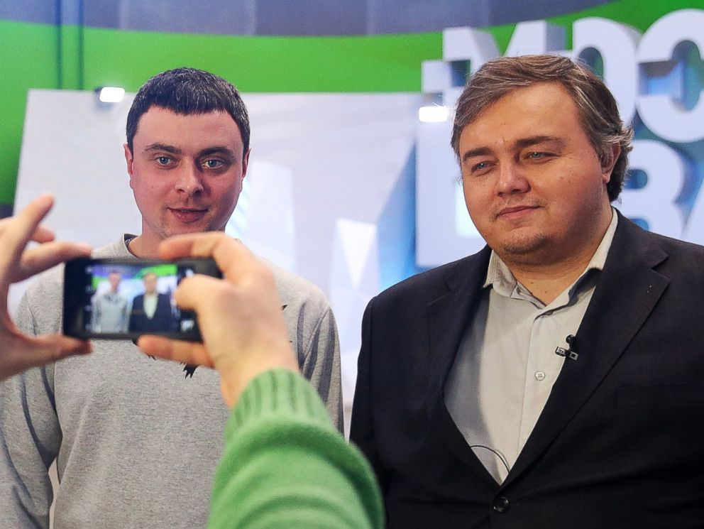 PHOTO: Roman Burtsev, right, a Russian doppelganger of American actor Leonardo DiCaprio, poses for a photograph after giving an interview to Moscow 24 TV Channel.