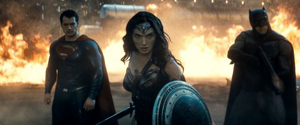 """PHOTO: Gal Gadot is seen here as Wonder Woman along with Henry Cavill as Superman and Ben Affleck as Batman in """"Batman v Superman: Dawn of Justice."""""""