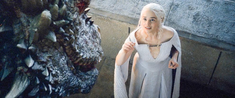 "PHOTO: Emilia Clarke as Daenerys Targaryen in a scene from season five of ""Game of Thrones."""