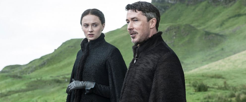 """PHOTO: Sophie Turner as Sansa Stark, left, and Aidan Gillen as Petyr Baelish in a scene from season five of """"Game of Thrones."""""""