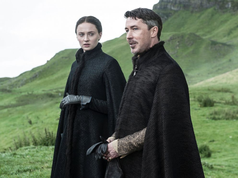 PHOTO: Sophie Turner as Sansa Stark, left, and Aidan Gillen as Petyr Baelish in a scene from season five of Game of Thrones.