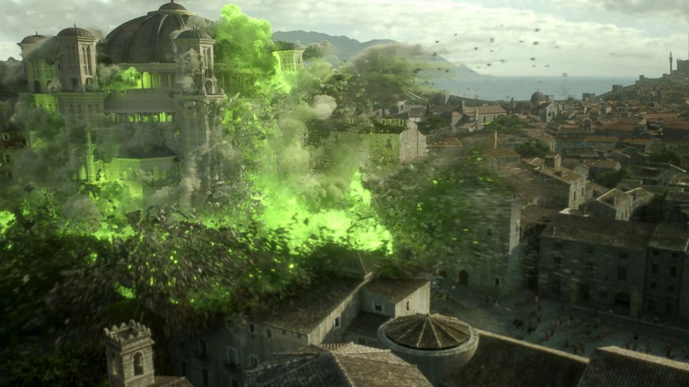 """The Great Sept of Baelor is seen exploding in a scene from """"Game of Thrones."""""""