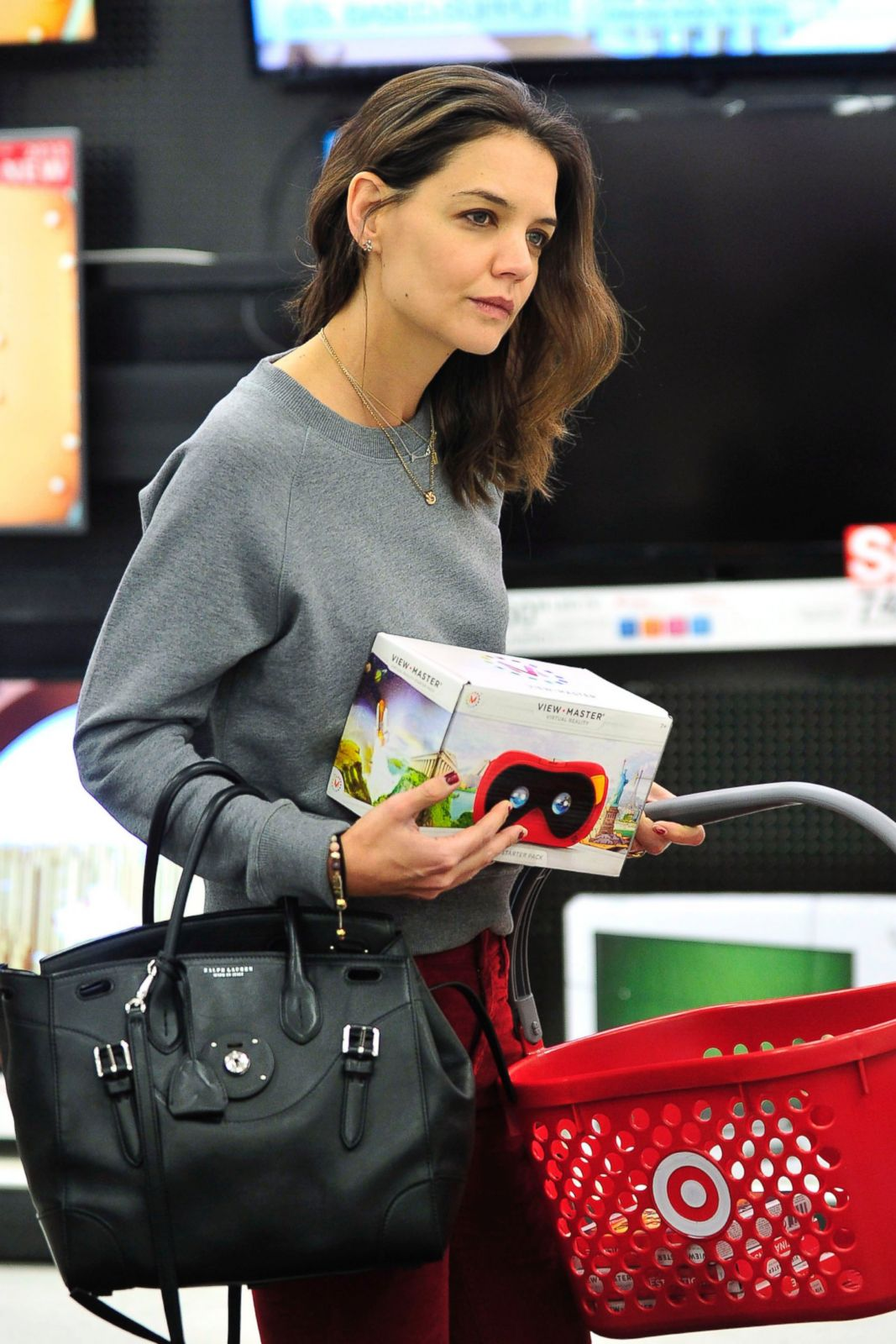 images Katie Holmes is pictured looking exhausted