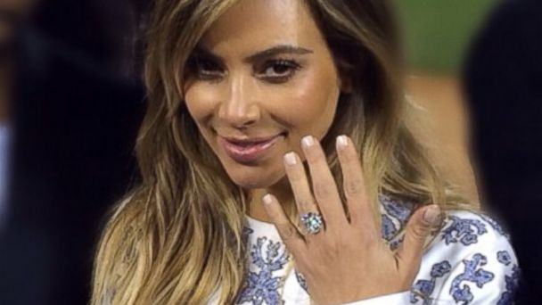 PHOTO: How does Kim Kardashians engagement ring from Kanye West measure up among the biggest celebrity bling?