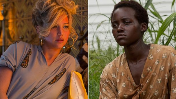 "PHOTO: From left, Jennifer Lawrence in ""American Hustle,"" and Lupita Nyongo in ""12 Years A Slave."""