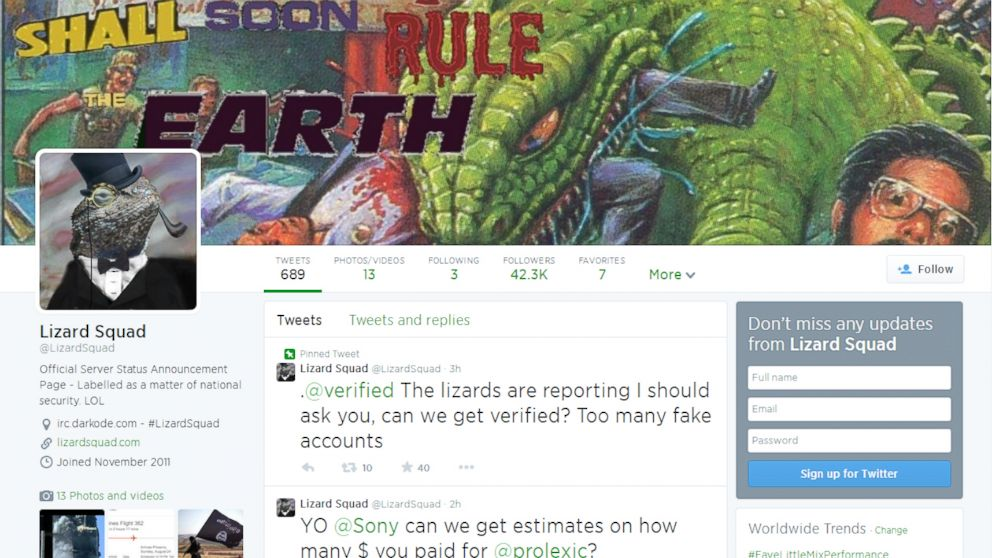 The hacker group Lizard Squad is apparently responsible for several recent high profile hacks.