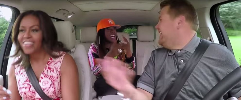 "PHOTO: Michelle Obama sings with Missy Elliott on James Cordens ""Carpool Karaoke."""