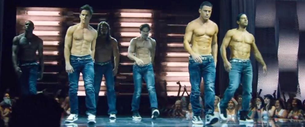 PHOTO: Channing Tatum, center, and the cast of Magic Mike XXL debuted the trailer.