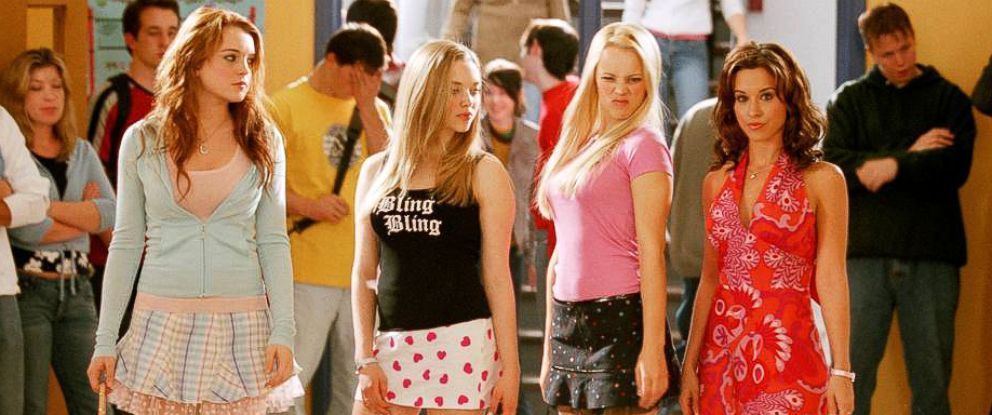 PHOTO: Lindsay Loha, Amanda Seyfried, Rachel McAdams and Lacey Chabert on the set of Mean Girls in 2004.