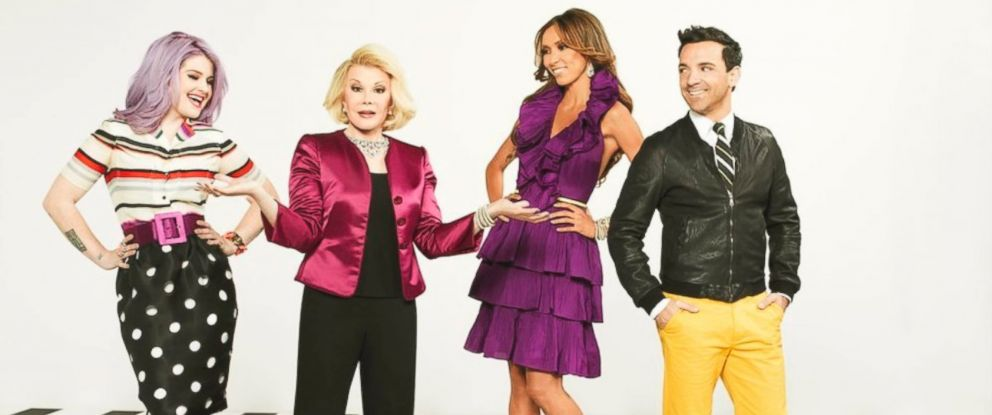 "PHOTO: Kelly Osbourne, Joan Rivers, Juliana Rancic, and George Kotsiopoulos of ""Fashion Police,"" 2012."