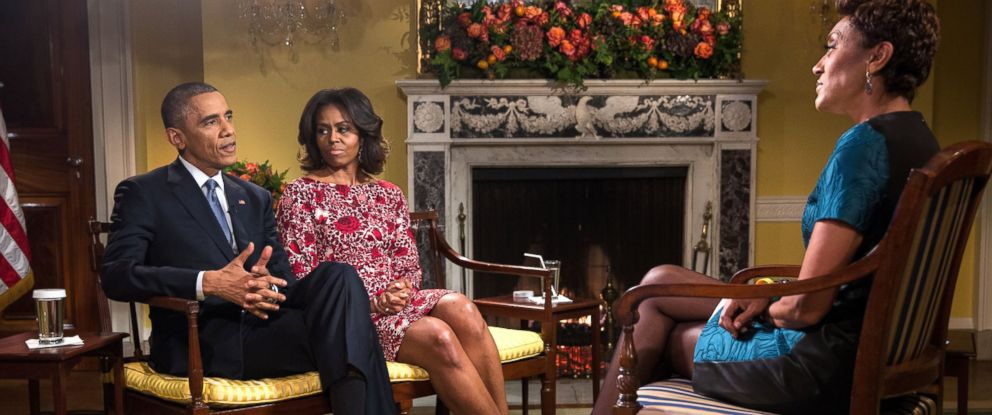 PHOTO: President Barack Obama and First Lady Michelle Obama participate in a joint interview with Robin Roberts in the Old Family Dining Room of the White House, Nov 19, 2014.