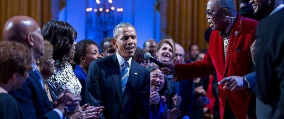 "PHOTO: In this photograph posted to White House photographer Pete Souzas Instagram account, President Barack Obama sings during the ""In Performance at the White House"" event celebrating Ray Charles, Feb. 25, 2016."