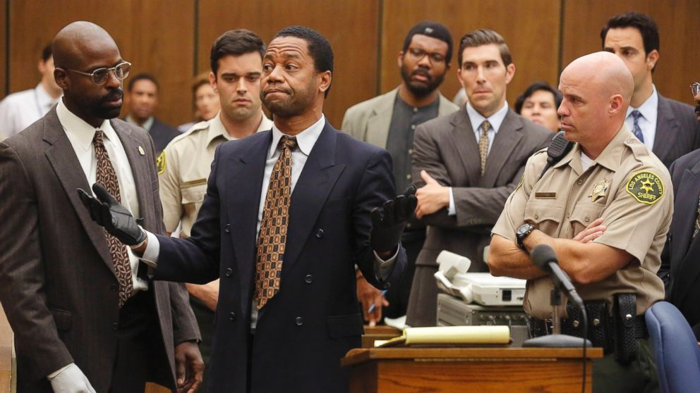 Sterling K. Brown as is seen here as Christopher Darden and Cuba Gooding, Jr. as O.J. Simpson in The People v. O.J. Simpson.