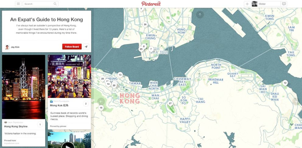 """PHOTO: On Nov. 20, 2013, Pinterest announced """"Place Pins,"""" a new way to plan travel using inspiration boards."""