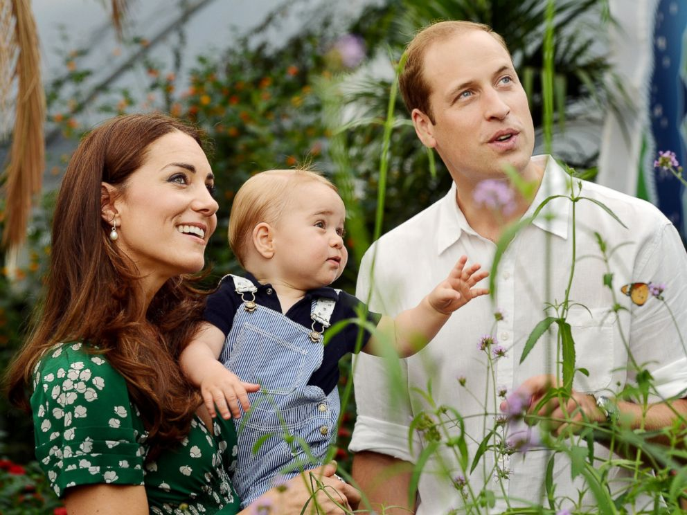 PHOTO: Duke and Duchess of Cambridge and the Prince during a visit to the Sensational Butterflies exhibition at the Natural History Museum, London.