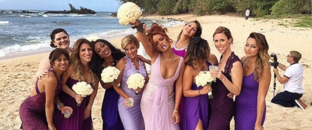 "PHOTO: Rihanna posted this photo with this caption: ""bridesmaids. #davis420wedding,"" April 21, 2015."