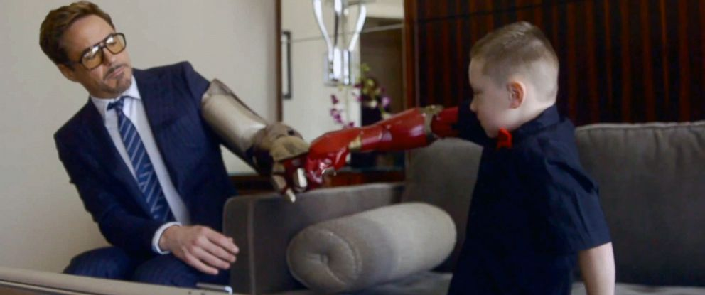 "PHOTO: Robert Downey Jr. participated in a Microsoft Collective Project that presented Albert, who was born with a partial arm, a bionic ""Iron Man"" arm."