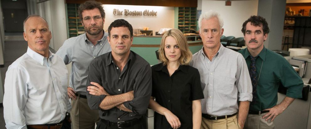 "PHOTO: The cast of the movie ""Spotlight,"" from left, Michael Keaton, Liev Schreiber, Mark Ruffalo, Rachel McAdams, John Slattery and Brian dArcy James."