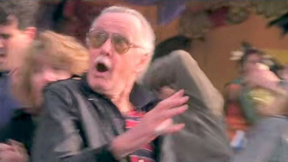"Stan Lee in a cameo scene from ""Spiderman."""
