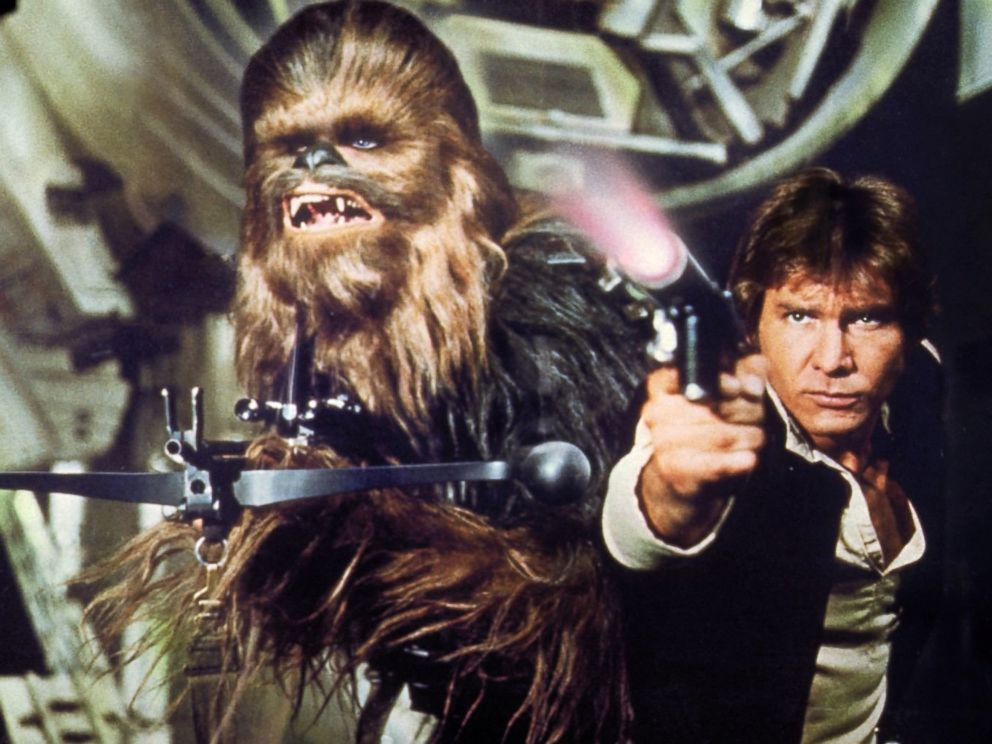PHOTO: Peter Mayhew, left, as Chewbacca and Harrison Ford as Han Solo in a scene from Star Wars: Episode IV - A New Hope.
