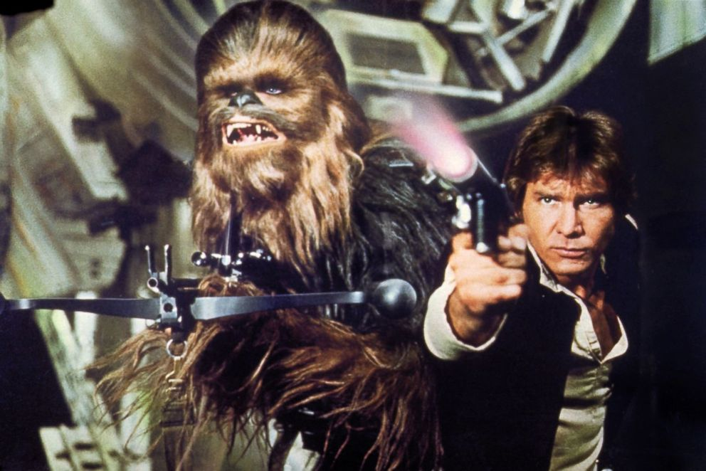 Chewbacca and Harrison Ford as Han Solo in a scene from Star Wars Episode IV- A New Hope