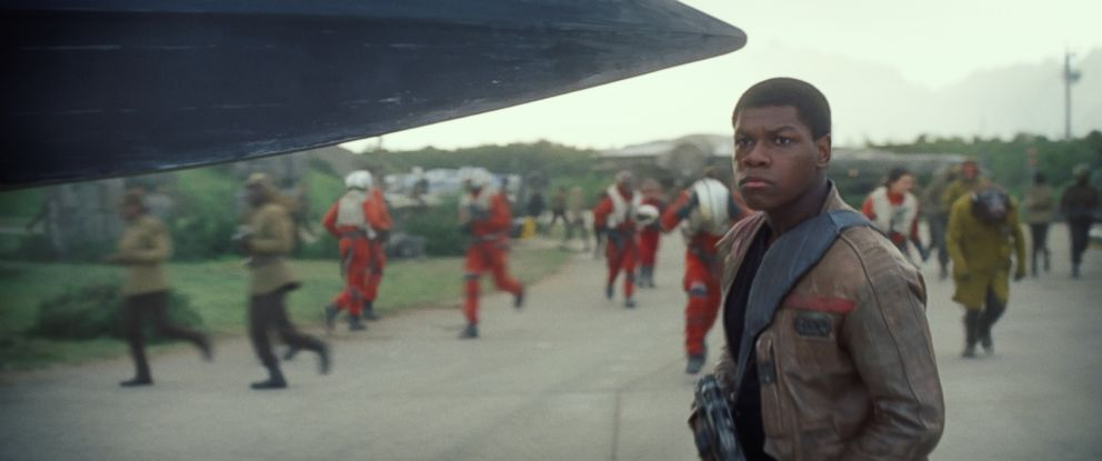 "PHOTO:John Boyega as Finn in a scene from ""Star Wars: The Force Awakens."""