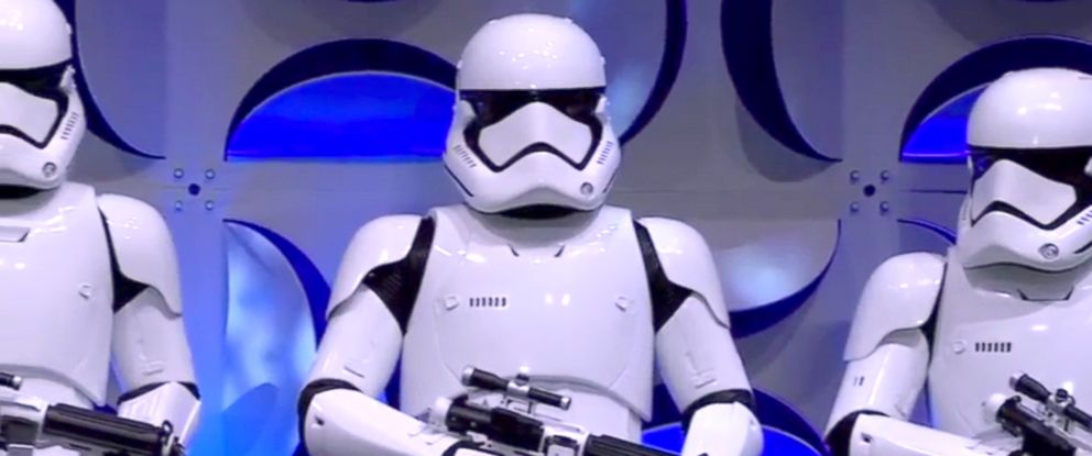 "PHOTO: The new stormtroopers for ""Star Wars: The Force Awakens"" unveiled at the Star Wars Celebration Anaheim panel discussion, April 16, 2015."