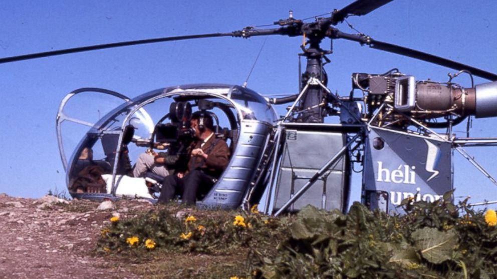"""The helicopter and cameraman that filmed the opening scene from """"The Sound of Music"""" are pictured here."""