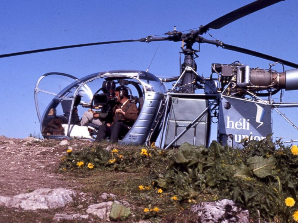 The helicopter and cameraman that filmed the opening scene from The Sound of Music are pictured here.