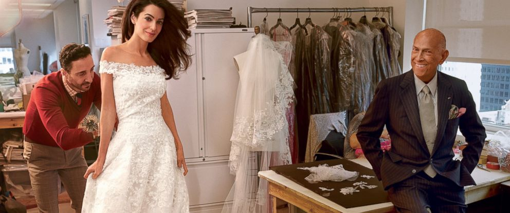 PHOTO: Amal Alamuddin at her final fitting with Oscar de la Renta.
