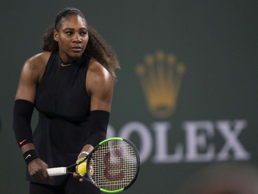 PHOTO: Serena Williams prepares to serve to Zarina Diyas, of Kazakhstan, during the first round of the BNP Paribas Open tennis tournament in Indian Wells, Calif., March 8, 2018.