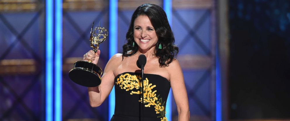 """PHOTO: Julia Louis-Dreyfus accepts the award for outstanding lead actress in a comedy series for """"Veep"""" at the 69th Primetime Emmy Awards on Sept. 17, 2017, at the Microsoft Theater in Los Angeles."""